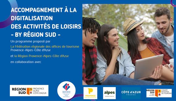 Flyer pour l'accompagnement à la digitalisation des activités de loisirs en région Sud